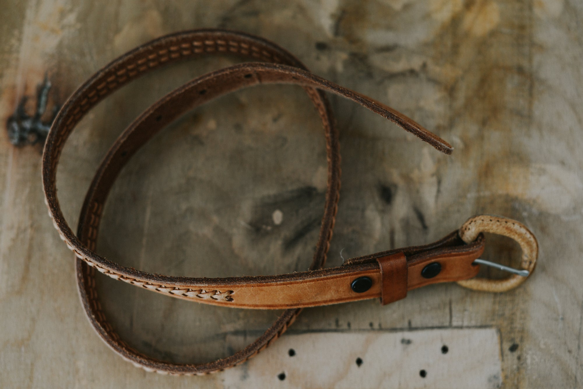 Brown Leather Vintage Belt