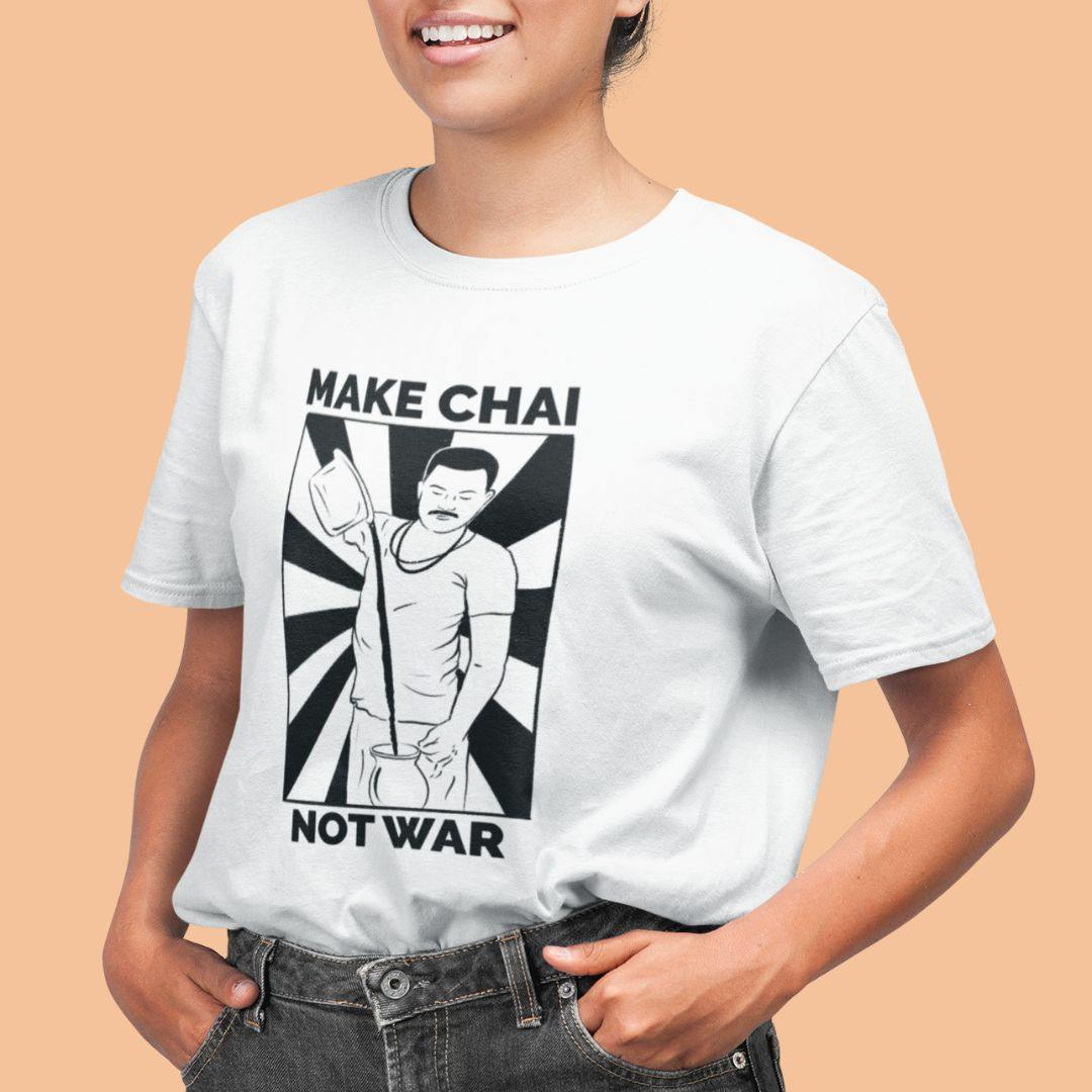 Make Chai, Not War - Boyfriend Tshirt - Daily Suvichar Store