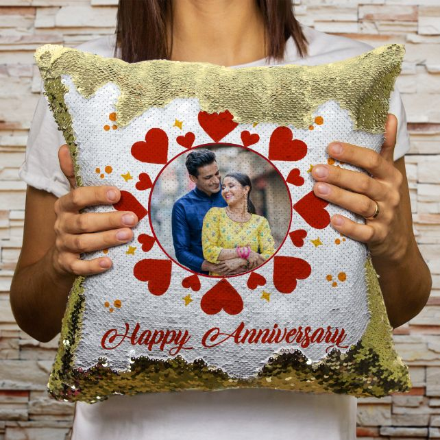 Anniversary - Personalized Magic Sequin Cushion Combo