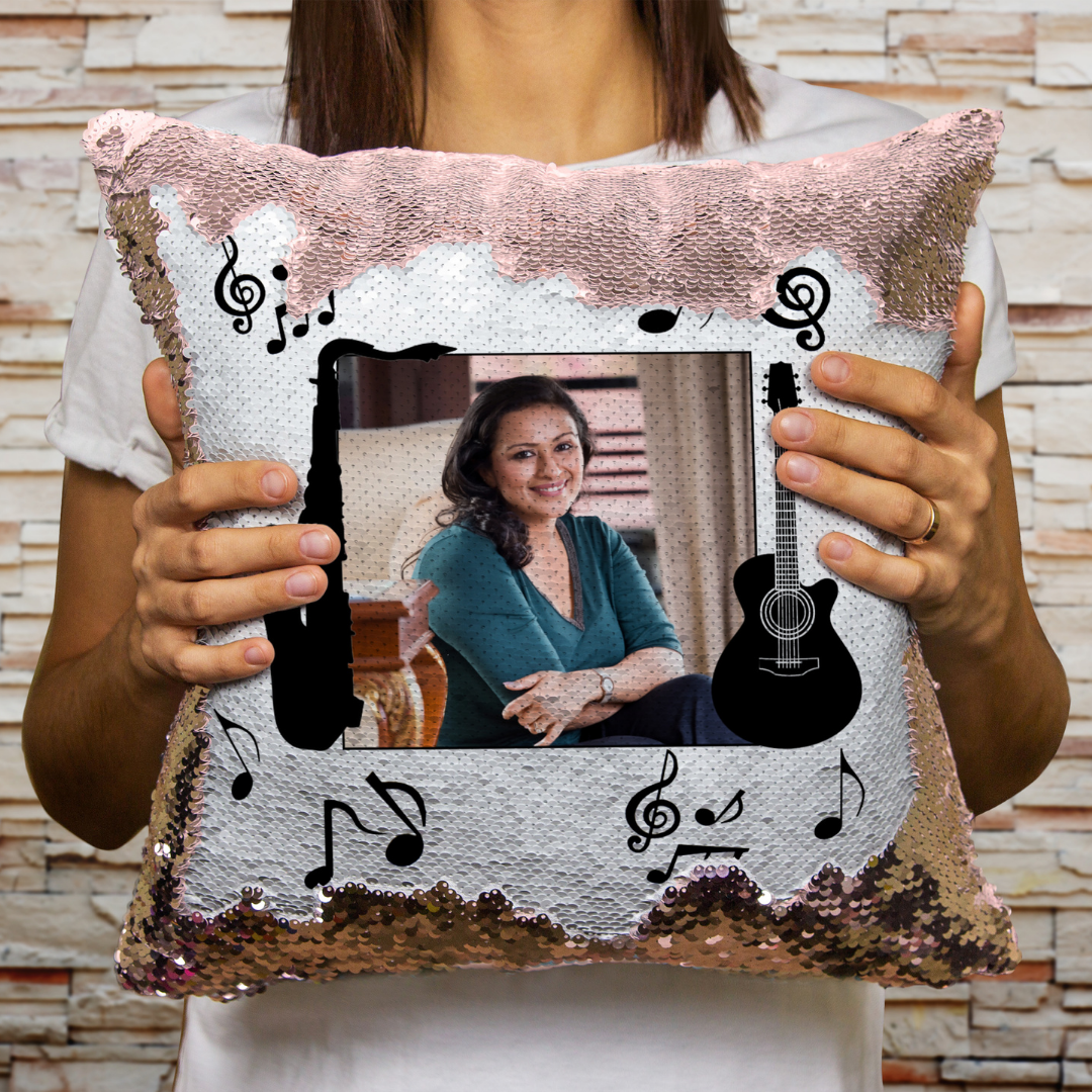 Music - Personalized Magic Sequin Cushion Combo