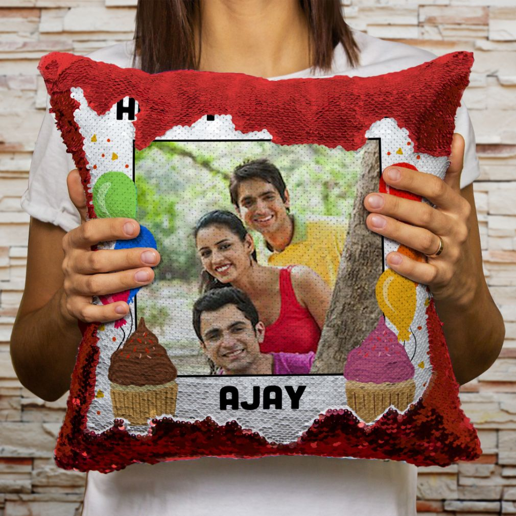 Personalized Magic Sequin Photo Print Birthday Cushion