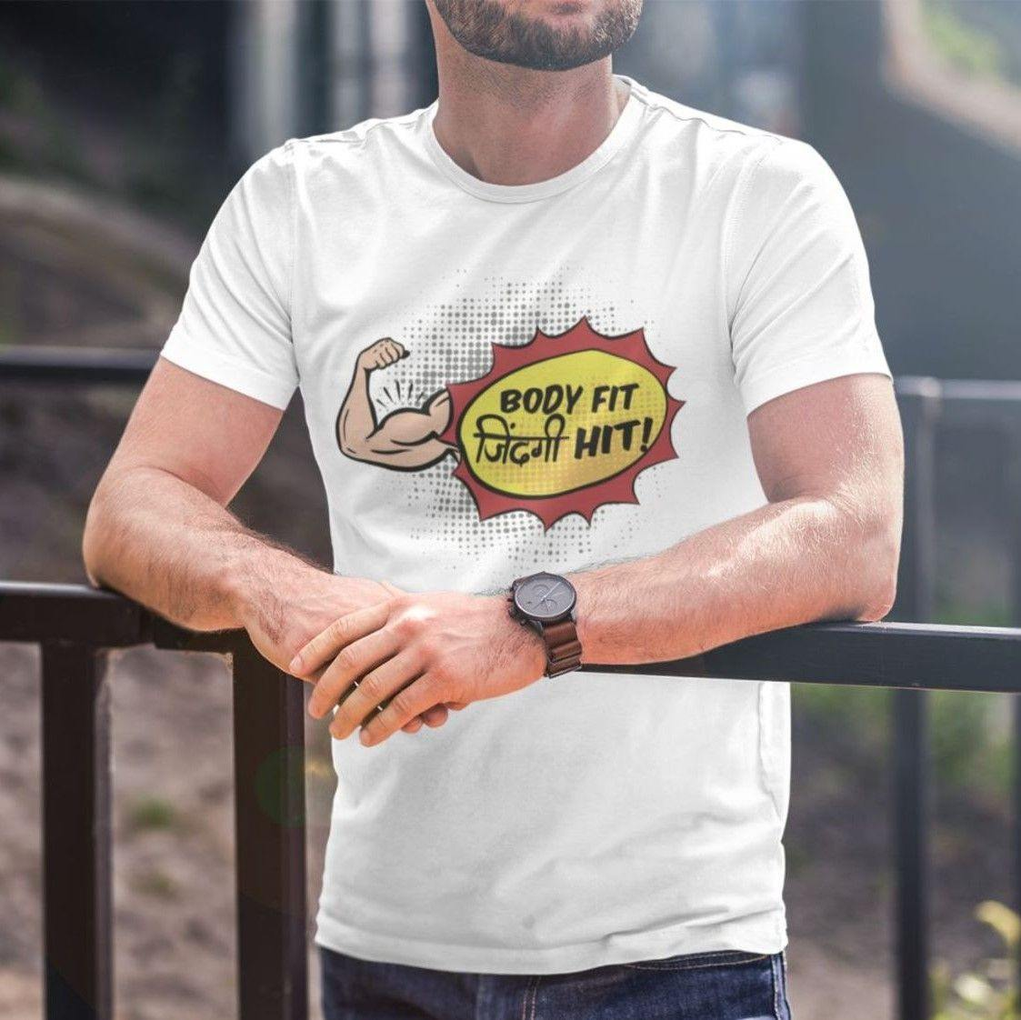 Body Fit, Zindagi Hit - Men's Tshirt - Daily Suvichar Store