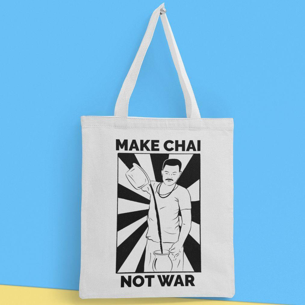 Make Chai, Not War - Tote Bag - Daily Suvichar Store
