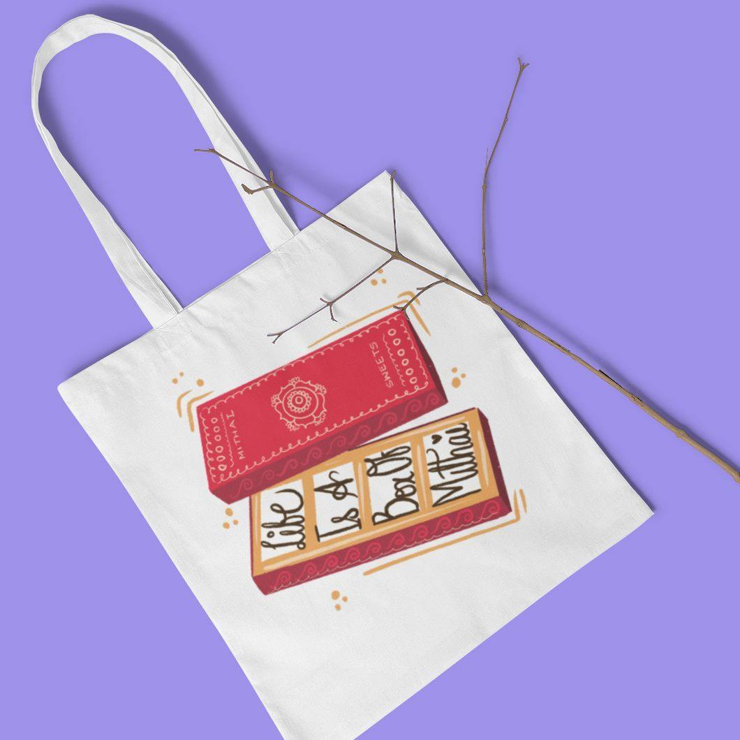Life Is A Box Of Mithai - Tote Bag - Daily Suvichar Store