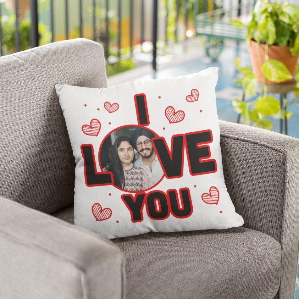 Personalized Beautiful I Love You Printed Soft Cushion Online