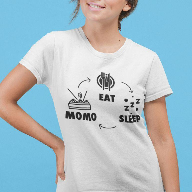Eat, Sleep, Momo, Repeat - Women's Tshirt - Daily Suvichar Store