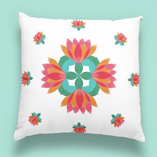 Washable High-quality Velvet Lotus Printed Cushion