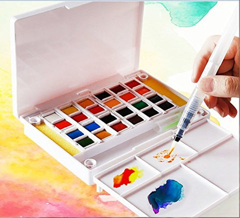 Watercolor Field Sketch Set - 24 Assorted Colors with 3 Brushes - Artify