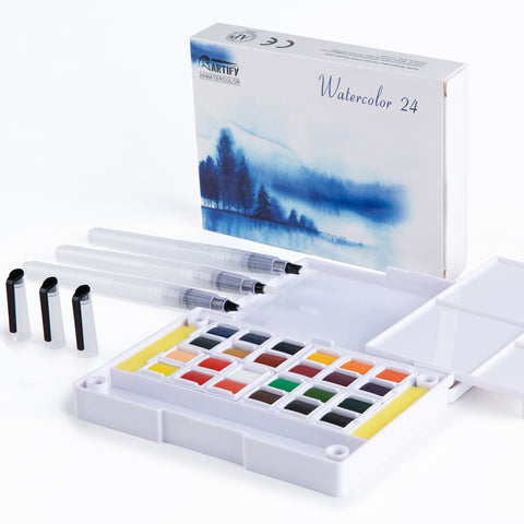 Watercolor Field Sketch Set - 24 Assorted Colors with 3 Brushes