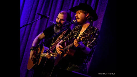 Steve Earle (left) and Colter Wall performing at <a href=