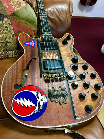 "Phil Lesh's ""Big Brown"" bass resides at the shop today."
