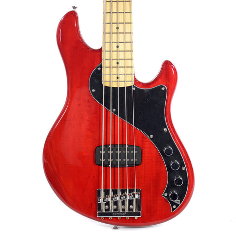 Squier Deluxe Dimension Bass V Crimson Transparent Floor Model