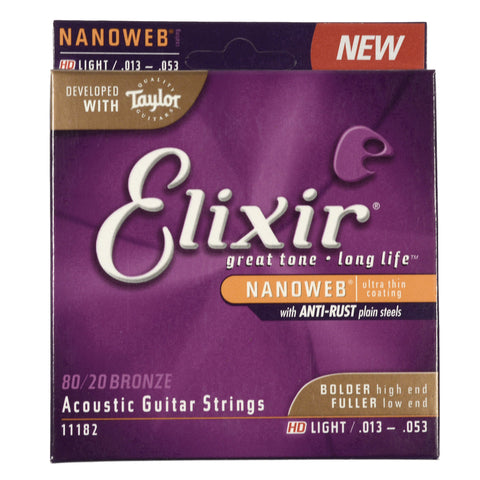 Elixir 11182 Acoustic Nanoweb 80/20 Bronze HD Light 13-53