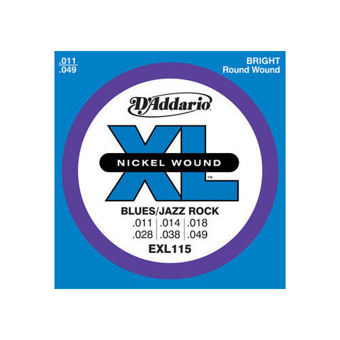 D'Addario EXL115 Blues/Jazz Nickel Wound Electric Guitar Strings 11-49