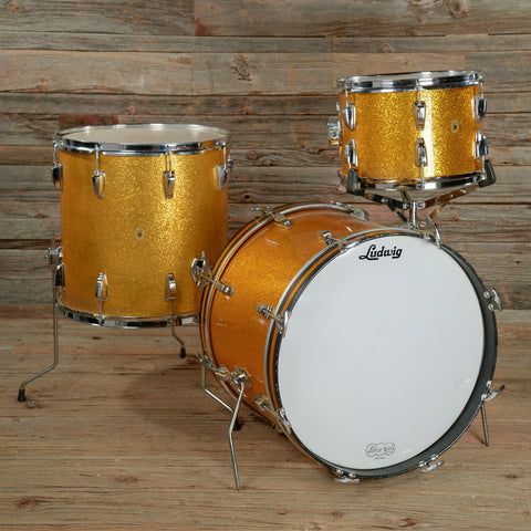 Ludwig 13/16/20 3pc Drum Kit Gold Sparkle Late 1960s USED