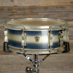 Ludwig 5x14 Transition Badge Jazz Festival Snare Drum Blue/Silver Duco Late 1950s USED