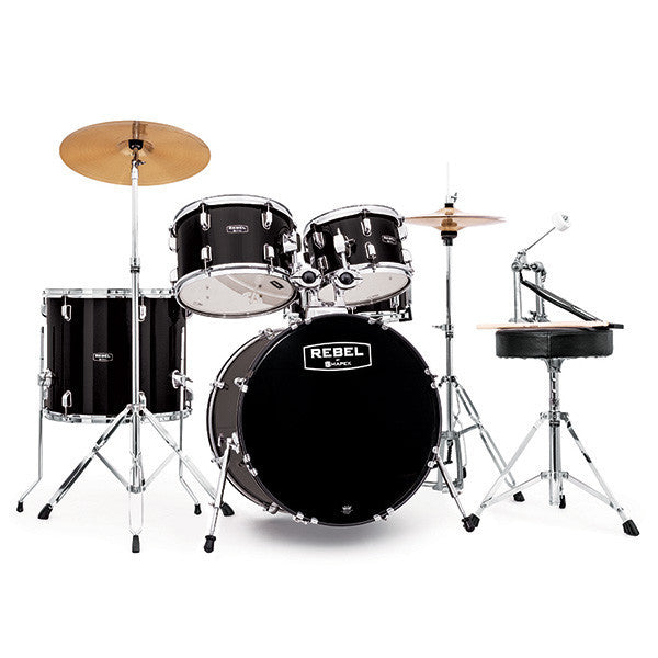 mapex rebel 10 12 14 20 5x14 5pc jazz drum kit complete set up black chicago music exchange. Black Bedroom Furniture Sets. Home Design Ideas