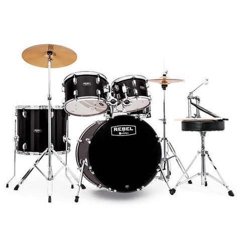 Mapex Rebel 10/12/14/20/5x14 5pc Jazz Drum Kit Complete Set Up Black