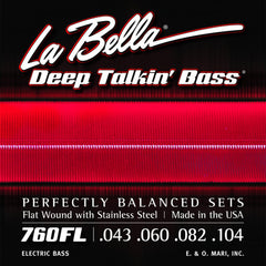 "La Bella 760FL Deep Talkin Bass Stainless Steel Flat Wound Light 43-104 40.5"" Scale Custom Set For AEB1"