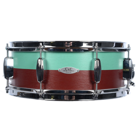 C&C 5.5x14 Super Flyer Two Tone Snare Drum Sea Green and Ox Red