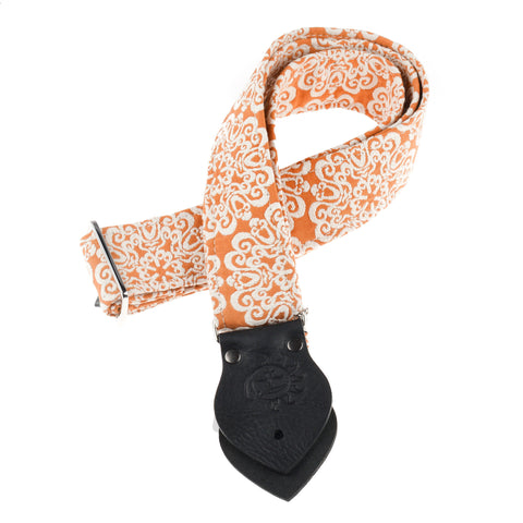 Dog Days Orange Mandala 2-Inch Guitar Strap