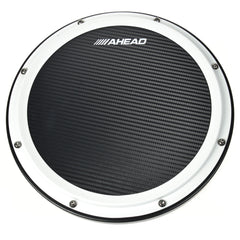 "Ahead 14"" White/Black S-Hoop Marching Pad with Snare Sound (Black Carbon Fiber)"
