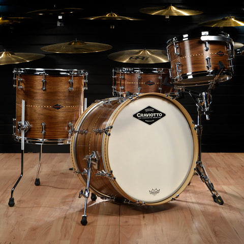 Craviotto 12/14/20/5.5x14 4pc Walnut Drum Kit w/Walnut Inlay