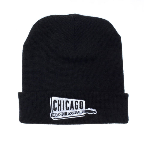 Chicago Music Exchange Winter Beanie Hat Black w/White Embroidered Logo