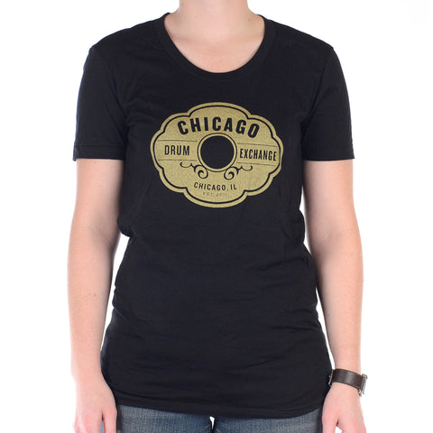 Chicago Drum Exchange Women's T-Shirt Black/Gold Classic Logo