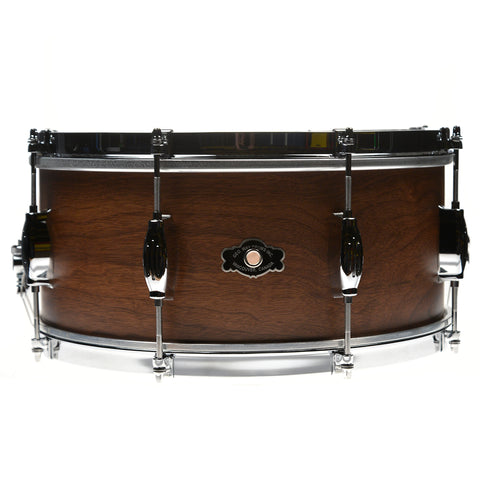 George Way 6.5x14 Tradition Walnut 4 Ply Snare Drum w/Single Flange Hoops Natural Finish
