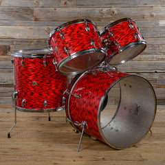 "Slingerland 12/13/16/20 4pc ""Pop Outfit"" Drum Kit Red Tiger Pearl 1970s USED"