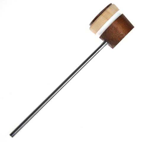 Low Boy Medium Brown White Stripes Leather Daddy Bass Drum Beater