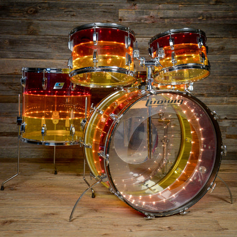 Ludwig 12/13/16/24/5x14 5pc Tivoli Vistalite Drum Kit Tequila Sunrise Mid 1970s USED