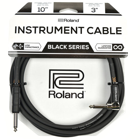 "Roland Black Series 10ft A/S 1/4"" Instrument Cable"