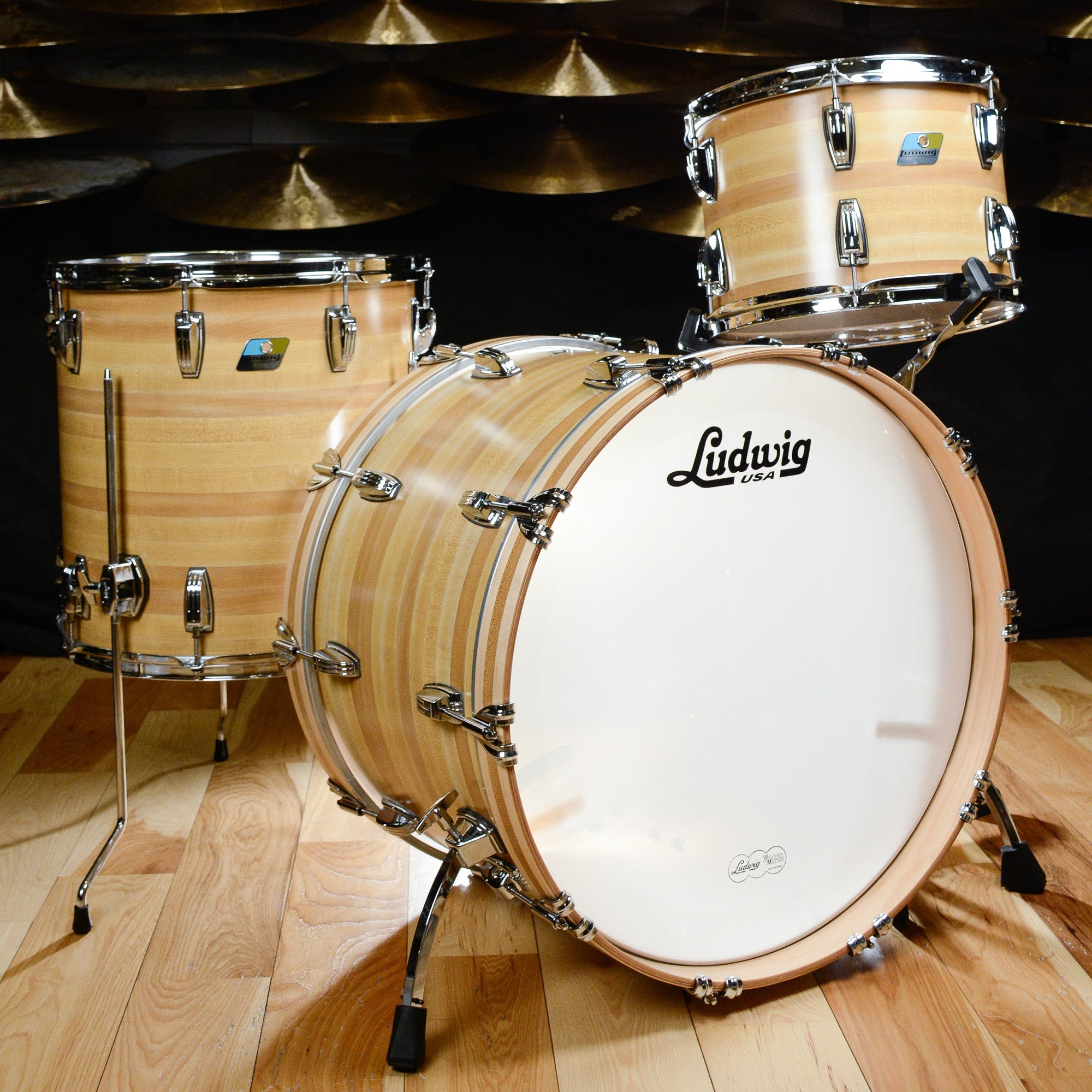 Ludwig classic maple 13 16 22 3pc drum kit butcher block for Classic house drums