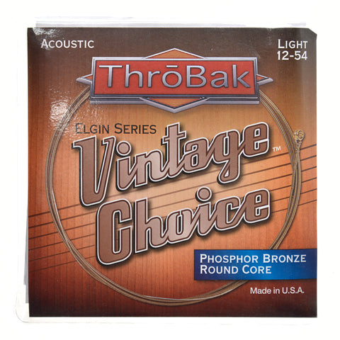 ThroBak Round Wound Phosphor Bronze Round Core Light Acoustic String Set (12-54)