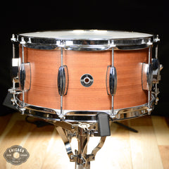 Q Drum Co. 7x14 Mahogany/Poplar Snare Drum Natural Satin w/Triple Flange Hoops