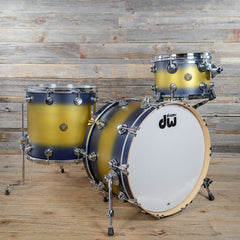DW Jazz Series 3pc Kit 13/16/22 Blue/Gold Satin Duco USED