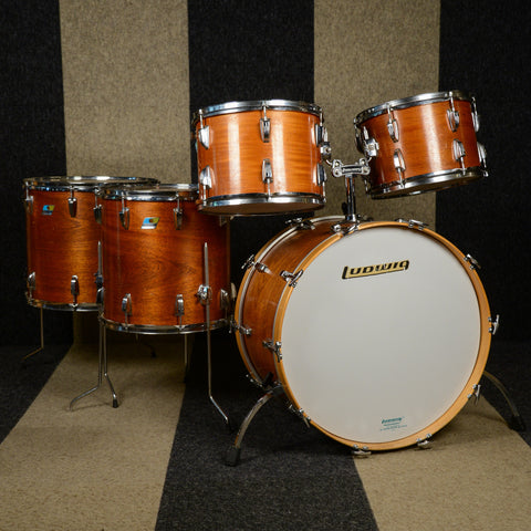 Ludwig 13/14/16/18/24/6.5x14 6pc Pro Beat Drum Kit Mahogany Stain Late 1970s USED