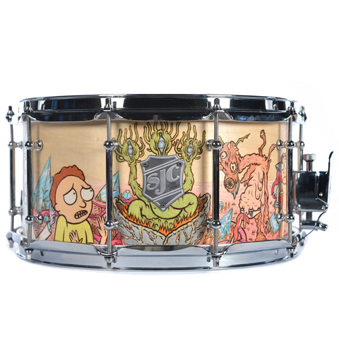SJC 7x14 Wood Burned & Colored Pencil Rick and Morty Snare