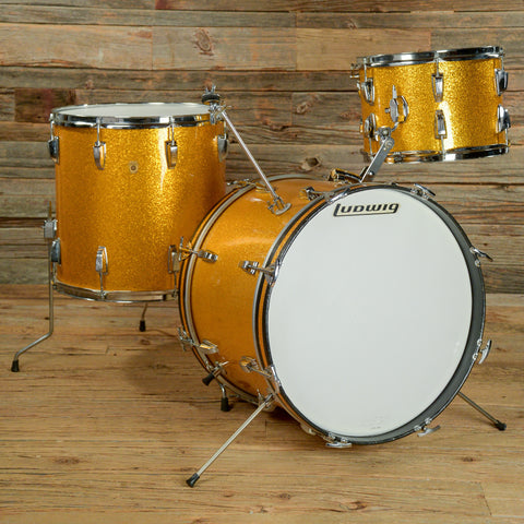 Ludwig 13/16/20 3pc Drum Kit Gold Sparkle 1960s USED