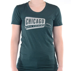 Chicago Music Exchange Women's T-Shirt Forest/Silver Classic Logo