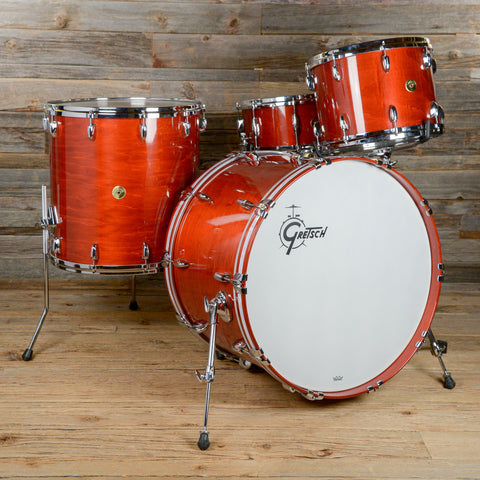 Gretsch USA Custom 14/18/24/6.5x14 4pc Drum Kit w/SKB Cases Burnt Orange Lacquer 2014 USED