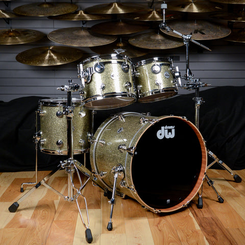 DW Collector's Cherry/Mahogany 10/12/14/20  4 Pc Drum Kit Gold Galaxy w/Chrome Hardware