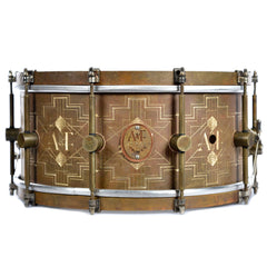 A&F Drum Co. 6.5x14 Engraved Royal Brass Snare Drum (Limited Edition #1 of 10)