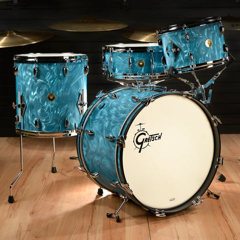 Gretsch USA Custom 12/14/20/5.5x14 4pc Drum Kit RB Kit Aqua Satin Flame Floor Model