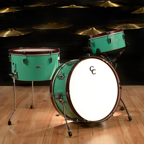 C&C Super Flyer w/ Antique White Hoops 13/16/22 Sea Green w/ Ox Red Wood Hoops