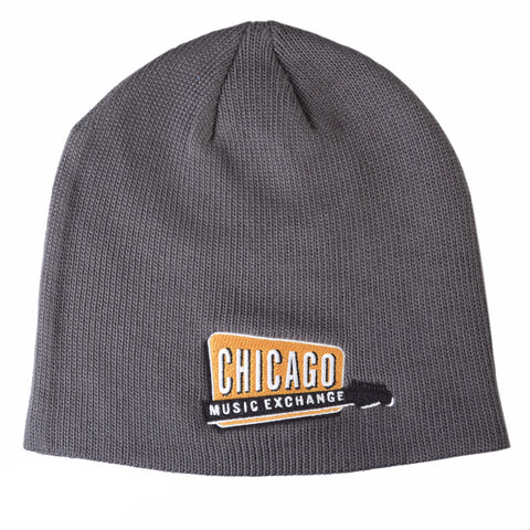 Chicago Music Exchange Winter Slouch Beanie Hat Grey w/Embroidered Logo