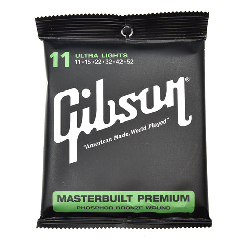 Gibson Gear Masterbuilt Premium Phosphor Bronze Acoustic Guitar Strings 11-52