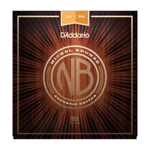 D'Addario NB1256 Nickel Bronze Acoustic String Set Light Top/Medium Bottom 12-56
